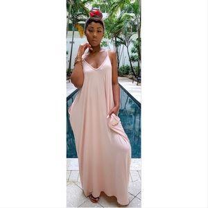 🌸 Pocketed Harem Maxi Dress Blush Pink 🌸